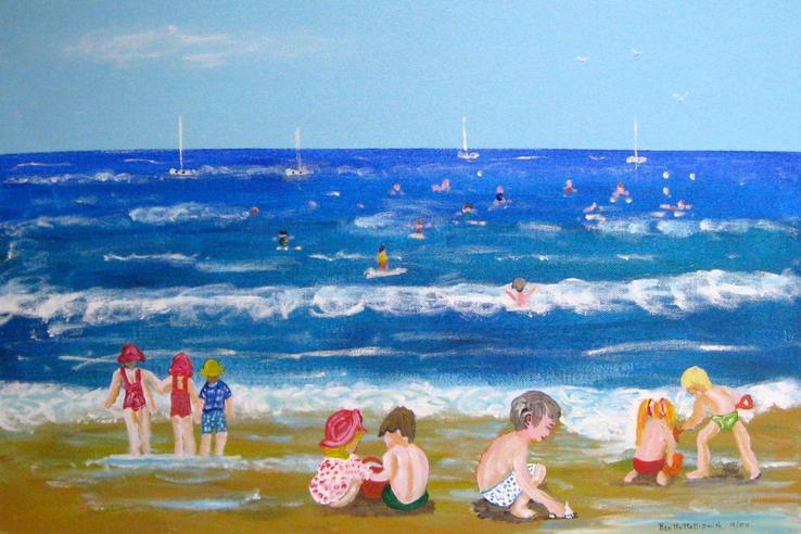 """Beach Fun Acrylic on Canvas 18"""" X 24"""" 12/13"""