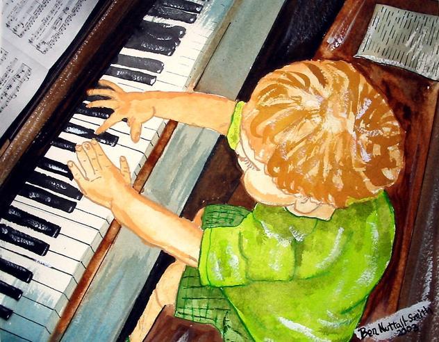 "pianist – watercolour 9 1/2"" X 8"" 2003"