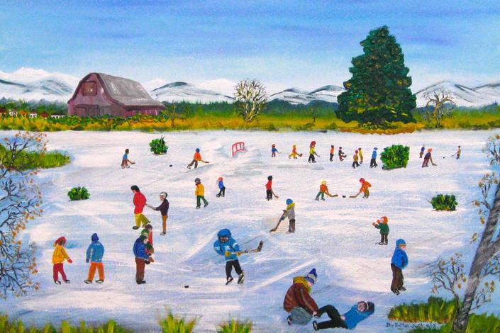 "Skaters on the Fen – acrylic on canvas 20"" X 30"""