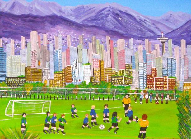 "The Soccer Game 20"" X 24"" Mixed Media on Canvas"